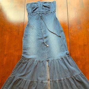 Blue denim strapless dress